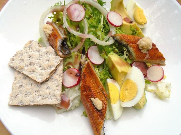 Belgian Endive (Frissee) With Avocados, Eggs &  Japanese Broiled Eel (Unagi Kaba-Yaki)