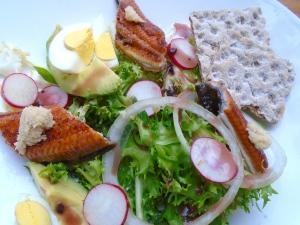 Belgian Endive (Frissee) With Avocado, Eggs &  Japanese Broiled Eel (Unagi Kaba-Yaki)