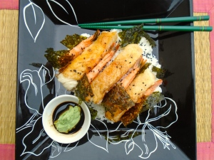 add toasted seaweed, serve with wasabi and soy sauce