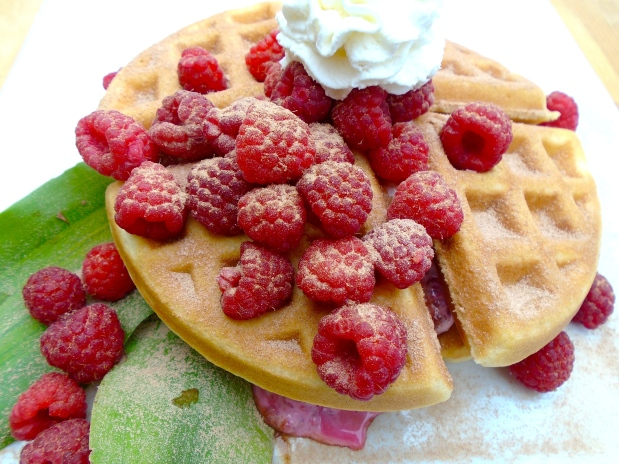 Belgian Buttermilk Waffles With Fresh Raspberries, Yogurt And Honey