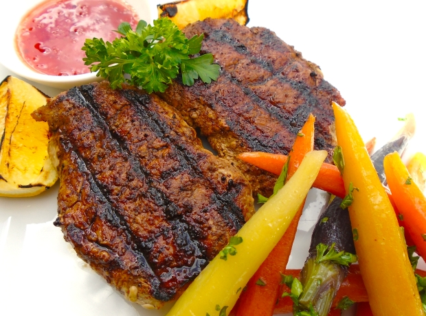 Pork Medaillons Teriyaki With Rainbow-Carrots In Honeybutter