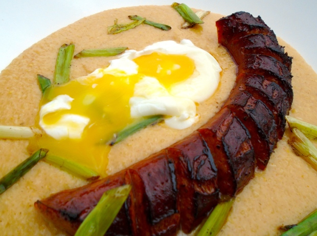 BREAKFAST OF CHAMPIONS # 54 – Cheese Polenta With Spicy Italian Sausage And Poached Egg