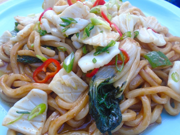 Stir Fried Squid, Udon And Bok Choy In Oyster Sauce (Yaki Udon)