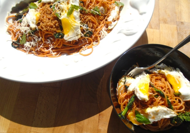 Tomato Spaghetti With Broccolini, Crispy Fried Eggs And Pangrattato