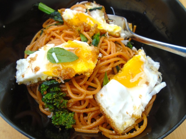 Tomato Spaghetti With Broccolini, Crispy Fried Eggs And Pangrattato