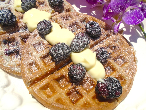 Blackberry Waffles With Vanilla Cream