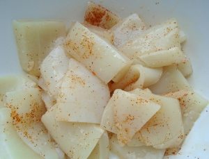 season with kosher salt, cayenne pepper and granulated garlic