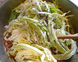 add shredded cabbage, caraway seeds, kosher salt, white pepper and a dash of vinegar