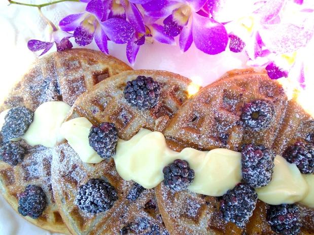 Blackberry Waffles With Vanilla Cream