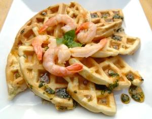Chili-Shrimp Waffles