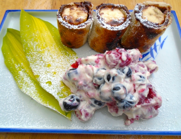 One For The Kids - Banana/Nutella Tortilla Roll With Fresh Raspberries And Blueberries