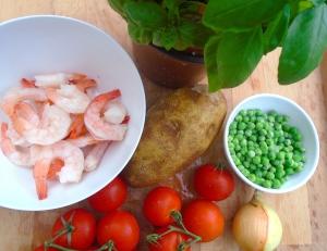 tomatoes, potato, shrimp, onion, peas, basil
