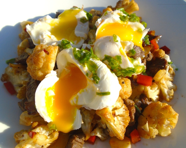 Breakfast Of Champions # 55 - Cauliflower And Beef Hash With Piquant Poached Egg