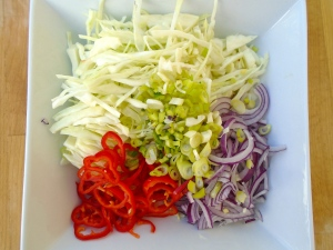 combine 3 cups finely sliced white cabbage, 1/2 cup sliced red onion, 1/4 cup sliced scallion, sliced red chillies to taste with1/2 cup sour cream, 1 tblsp lemon juice, 1 tsp garlic paste, kosher salt to taste