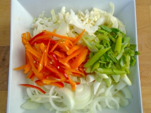 julienne of 1 medium onion, 1/2 small head white cabbage, 2 ea medium-hot chilies, 3 stalks scallion