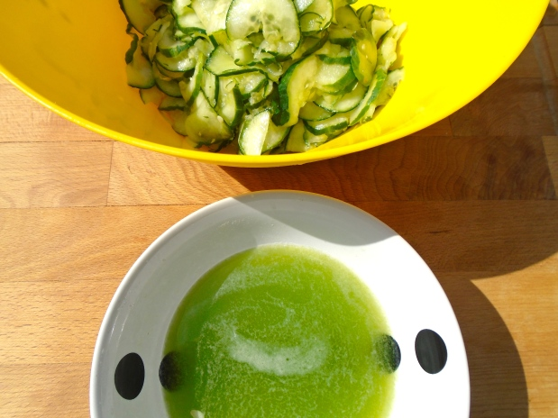 after 15 minutes, squeeze all excess water/juices from the cucumbers, discard the liquid