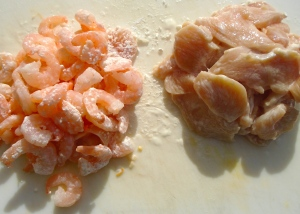 add 1 tblsp corn starch to the shrimp and 2 tbls corn starch to the chicken, mix well