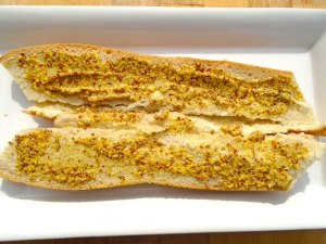"spread baguette with 3 tblsp whole grain ""Maille Dijon Mustard"""