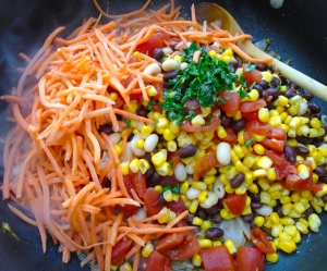 add the diced tomatoes, northern beans, red kidney beans, kernel corn, 8 oz shredded carrots, 1 bunch chopped cilantro and 1 qt beef stock, season with kosher salt and cayenne pepper to taste