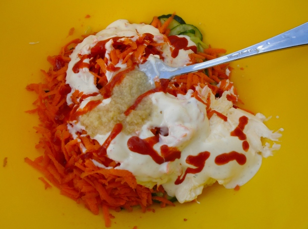 add 1 tsp sriracha, 1 tblsp garlic paste, 2 cup Greek yogurt, mix all together