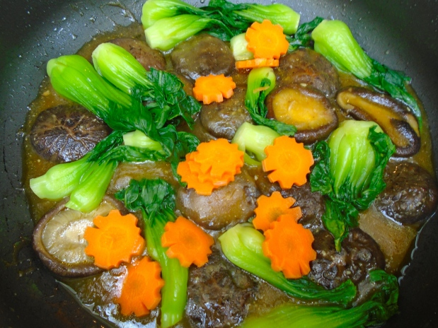 Stir Fried Flower Mushroomes, Bok Choi And Carrots In Hoi Sin Sauce