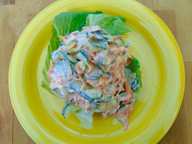Cucumber Carrot Slaw In Greek Yogurt Dressing
