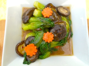 Stir Fried Flower Mushrooms, Bok Choy And Carrots In Hoi Sin Sauce