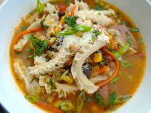 add 1 half of the tripe to the stew; to serve, sprinkle with chopped cilantro, finely sliced scallions and grated parmesan cheese (optional)