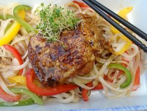 Braised Teriyaki Chicken With Spicy Rice Sticks