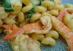Corkscrews, Shrimp, Bok Choy and Eggs
