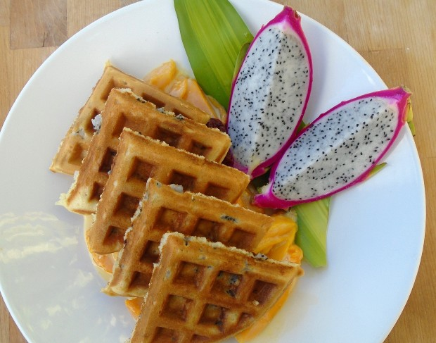 Dragon Waffles With Mangoes In Honey/Vanilla Cream