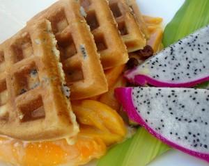 Dragon Waffles With Mangoes In Honey/Vanilla Cream