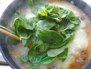 add 2 cup tighly packed fresh spinach, remove from heat