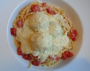 sprinkle with grated parmigiano romano; serves 2