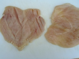 cut the 8 oz breasts horizontally into 4 cutlets, score lightly to avoid shrinkage