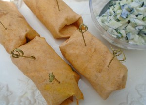 Curried Garbanzo And Potato Wraps With Raita
