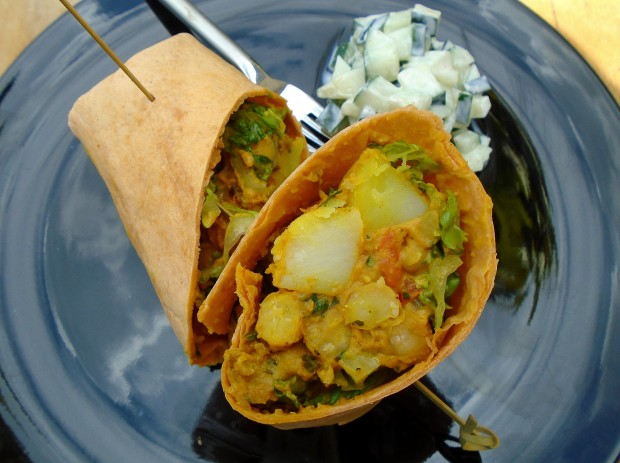 Curried Garbanzo And Potato Wrap With Raita