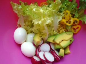 4 ea hard boiled eggs, 1 ea yellow chilies, 1 ea avocado, peeled and cut into slices, salted radishes, 1 head endive,