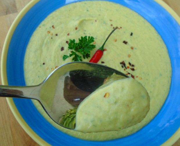 Chilled Spicy Cucumber And Avocado Bisque