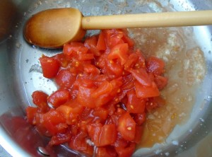add 1 cup peeled/diced tomatoes, saute another minute