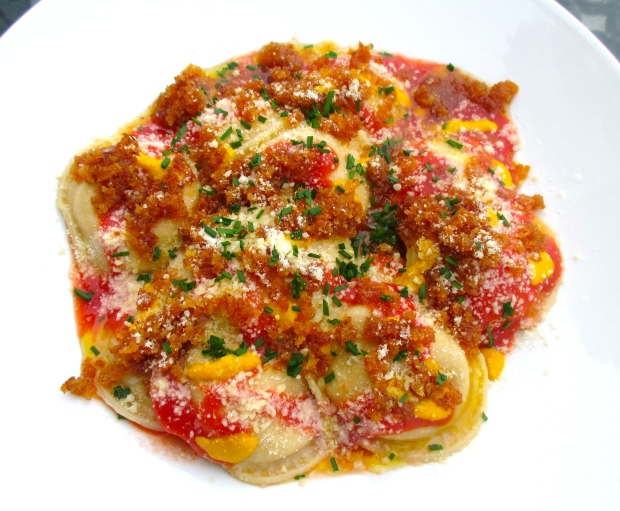 Pumpkin & Ricotta Ravioli In Tomato Sauce, Aji Amarillo And Pangrattato