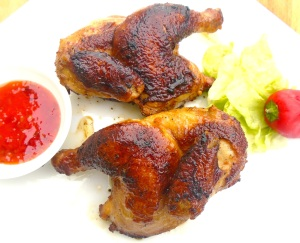 Ginger And Soy Braised Cornish Hens With Spicy Cucumber Pickles
