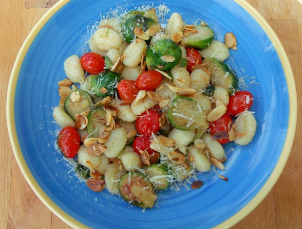 "Gnocchi, Brussel Sprouts And Grape Tpmatoes ""Almondine"""