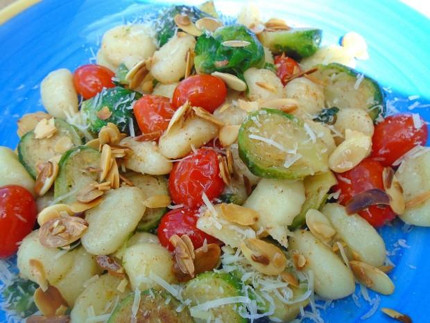 "Gnocchi, Brussel Sprouts And Grape Tpmatoes ""Almondine"""