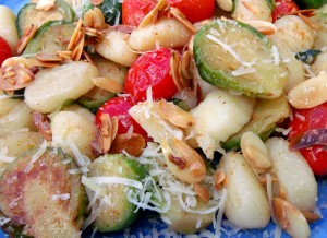 "Gnocchi, Brussels Sprouts And Grape Tomatoes ""Almondine"""