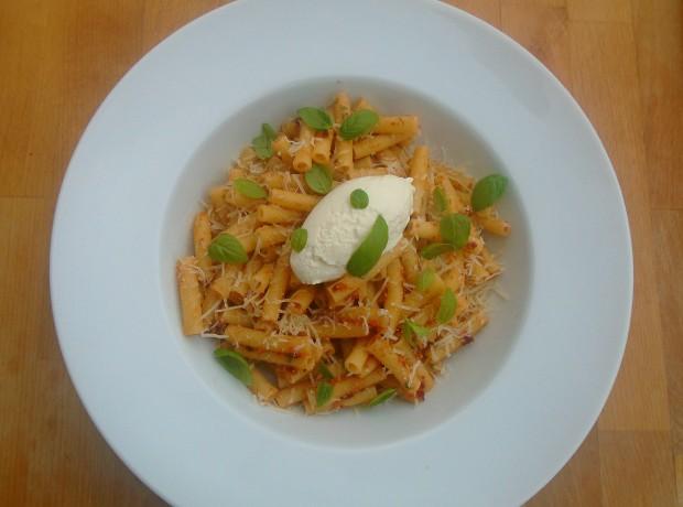 Pasta With Sundried Tomato/Cashew Pesto And Ricotta