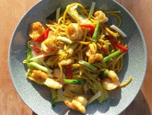 (Sunshine On A Plate)   Curried Pasta With Shrimp, Mushrooms, Veggies And Egg