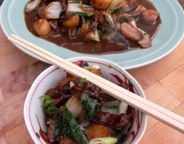 East Meets West - Sauteed Beef With Bok Choy, Onions And Potatoes In Hoisin Sauce