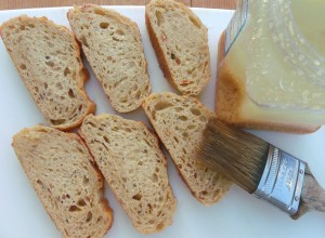 brush bread with garlic paste