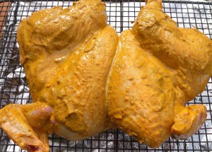 season chicken on both sides, using all the spice paste, place on a rack, keep uncovered in fridge overnight to dry overnight